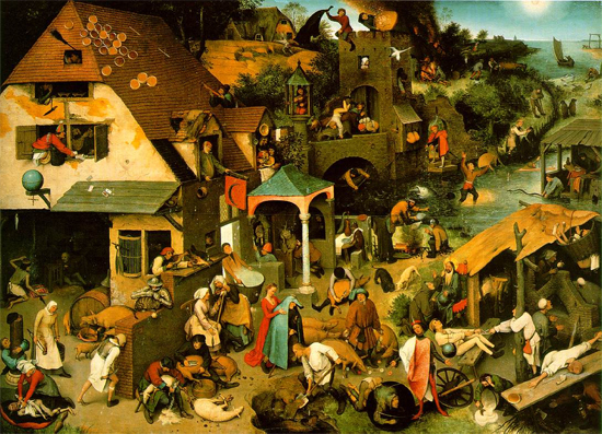 Oil on oak panel, Breugel. Hollandske ordsprog. 117 x 163 cm; Staatliche Museen zu Berlin - Gemaldegalerie, Berlin