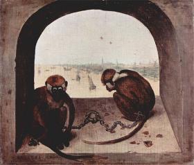 1562: To aber i lænker af Pieter Bruegel